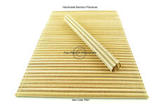 4 Bamboo Placemats Handmade Table Mats Tableware, Defects, Brown - Cream P021