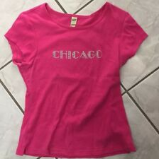 Girls Medium Hot Pink Rhinestone Chicago -Top