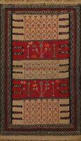 Tribal Sumak Kilim Hand-woven WOOL Area Rug Geometric Oriental 4'x6' Carpet New