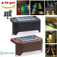 8-16pcs Solar Powered LED Deck Stairs Outdoor Garden Wall Fence Yard Lamp Lights