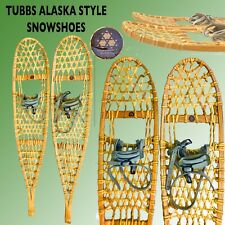 VINTAGE TUBBS VERMONT #S1 SNOWSHOES ALASKE TRAIL TYPE RAWHIDE WEBBING& HARNESSES