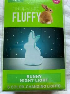 Happy Go Fluffy Blue Easter Bunny Rabbit Night Light Color Changing New