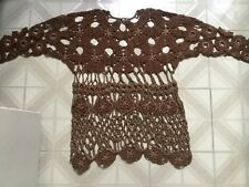 '90s vintage Crochet knit Tunic cover-up - Boho brown & gold metallic