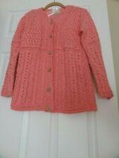 NWT Kilronan Knitwear Sweater Cardigan Cotton/Linen Coral - Made in Ireland