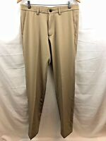 Haggar Golf Pant Mens 32 x 34 Brown Flat Front Stretch Straight Fit Brand New