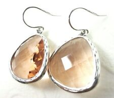 Silpada Ablaze Bezel Set Faceted Glass .925 Sterling Silver Dangle Earrings New