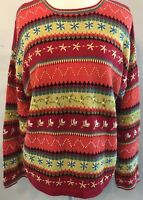 Susan Bristol Womens Striped Embroidered Long Sleeve Sweater Autumn colors XL
