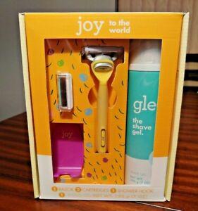 Joy to the World Women's Razor Gift Set Blade Cartridge Refills Shave Gel Yellow