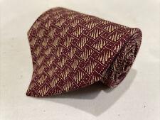 Clavin Klein Men's Red Geometric Silk Neck Tie $78