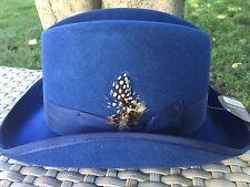 STACY ADAMS NAVY BLUE WOOL HOMBURG FEDORA Gangster Hat M 57CM 7 1/8
