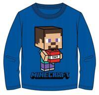 Boys Kids Minecraft Cotton Long Sleeve Blue T Shirt Top t-shirt 5-12 years