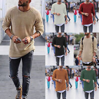 Men Long Sleeve Pullover Casual Jumper Warm Knitted Sweater Solid Under Shirt 50