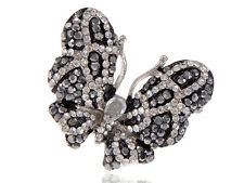 Jet Black Clear Crystal Rhinestone White Flying Wing Fly Butterfly Custom Ring