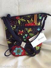 NEW DONNA SHARP BALI FLORAL PENNY CROSS BODY BAG Multi Color COTTON CANVAS