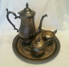 wm rogers & son 2601 silver tea set, teapot, creamer, sugar bowl w/ lid, tray