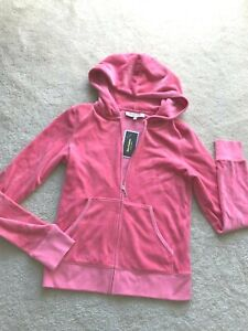 NWT NEW Juicy Couture hooded velour sweatshirt top front zip M MEDIUM pink logo