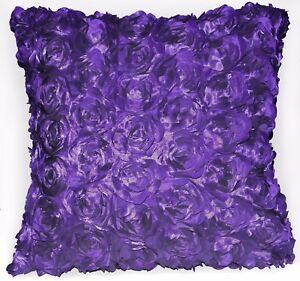 Sa209a Purple 3D Flower Taffeta Satin Cushion Cover/Pillow Case*Custom Size*