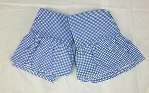 NEW Pr Ralph Lauren Blue Small Gingham Check Ruffled KING Pillowcases Cotton
