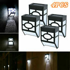 4 Outdoor Solar Led Wall Lights Path Garden Patio Pathway Stairs Step Fence Lamp