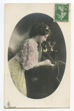 c 1910 Pretty Young Lady VINTAGE TELEPHONE making a phone call photo postcard