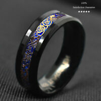 8/6mm Black Tungsten Ring Rose Gold Celtic Dragon Blue Carbon Fibre Jewelry