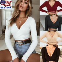 Women Bandage V-Neck Cross Slim Crop Tops Long Sleeve T shirt Clubwear Blouse US