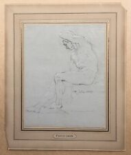 Dessin Ancien Portrait Académie Homme Nu Masculin Cartel «Prud'hon» Daté 1809