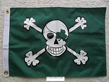 "12""X18"" ST. PATRICK'S DAY IRISH PIRATE FLAG DOUBLE SIDED NYLON BOAT/MOTORCYCLE"