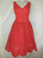 VTG 50s 60s RED SWING PIN-UP ROCKABILLY SUN DRESS SCALLOP HEMLINE EYELET  VLV