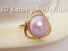 AAA 20mm natural South Sea pink Mabe Pearl Ring 14KT gold j5215
