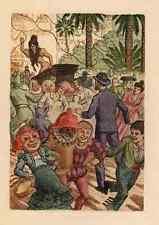 KARNAVAL - BUNTES TREIBEN OriginalFarbRadierung von Jean VIROLLE 1930 CARNAVALES