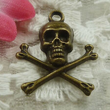Free Ship 150 pieces bronze plated skull charms 24x21mm #1765