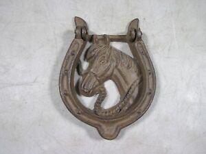 Vintage Cast Iron Horse Horseshoe Door Knocker