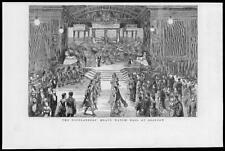 1882-ANTIQUE PRINT Scotland Glasgow Highlanders Black Watch Ball Kilts (118)