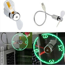Mini Flexible Gooseneck LED Clock USB Fan For PC Notebook Time Display Cool CU