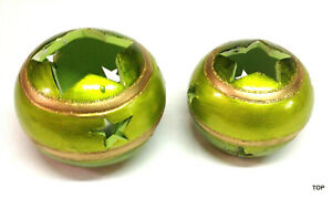 2er Tealight Holder Green With Punched-Out Stars Ornamentation Ceramic Lantern