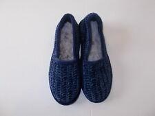 Dearfoams Women's Size Medium 7-8 Blue Chenille Memory Foam Lined Slippers