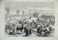 Original Old Antique Print 1874 View Caravanserai Kashgar Camels Horses People