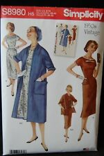 Simplicity Sewing Pattern 1950's Vintage Lined Coat & Dress S8980 H5 S8980 R5