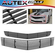 Fit 2010-2013 Chevy Camaro SS V8 Black Horizontal Billet Grille Grill Combo