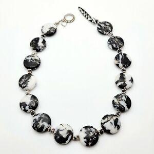 Kelly Charveaux, KC, Zebra Jasper Toggle Necklace Sterling Silver MOP Onyx Inlay
