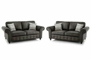 NEW OAKLAND EXTRA LARGE 3+2  FABRIC SOFA FAUX SUITE BLACK  SALE