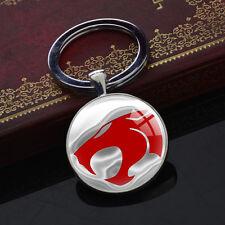 Keychains Superhero Thundercats Glass Bag Charm Key Chain Round Pendant Silver