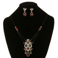 For Women Ethnic Vintage Necklace Flower Jewelry Sets Earrings Crystal Resin