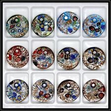 12 Pcs Lovely Circular Crystal Murano art glass beaded leather pendant necklace