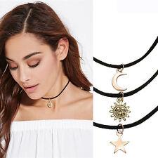 3PCS / Set Cuir lune Étoile Soleil Foulard Collier Cadeau Mignon Bijoux Femmes