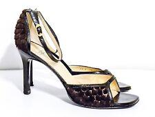 Charles Jordan Paris Brown Leather animal furry Open Toe/Ankle Strap Heels 10