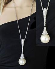 NEU strass Kristall Kette Collier Halskette Mittelhalskette Anghänger Perle -K22