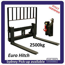 EURO QUICK HITCH PALLET FORK 2.5T + LOADGUARD, TOWING & LIFTING JIB, CERTIFIED