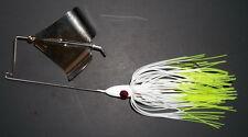 """(1) 3/8 Oz. Custom Topwater Buzzbait Lure-(White/Chart. Tips)-Bass Fishing-""""NEW"""""""